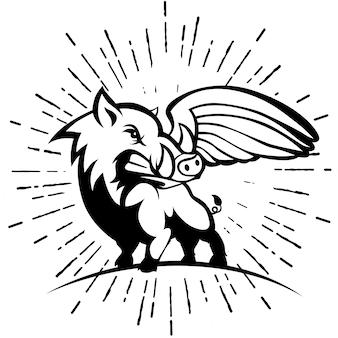 Dziki wieprz lub dzik z logo skrzydła