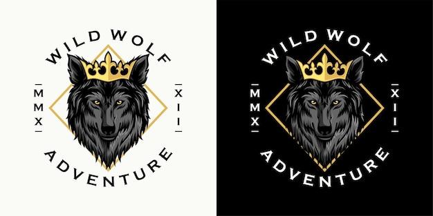 Dziki wilk klasyczny szablon logo vintage
