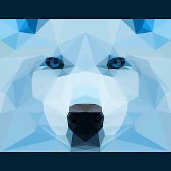 Dziki wilk patrzy przed siebie. tło tematu życia przyrody i zwierząt. abstrakcyjna geometryczna ilustracja trójkąta wielokąta do wykorzystania w projektowaniu karty, zaproszenia, plakatu, banera, afiszu, okładki billboardu