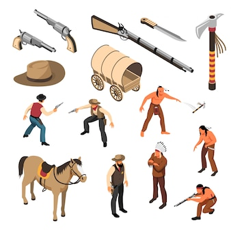Dziki zachód atrybuty kowbojów i rdzennych amerykanów zestaw ikon izometryczny na białym tle