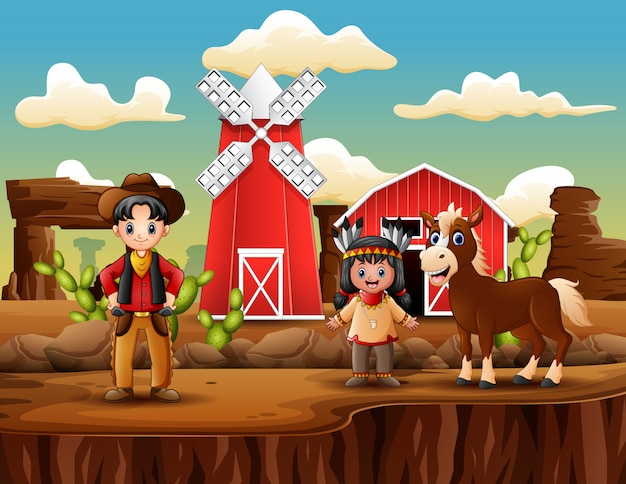 Dziki zachód farmy z kowbojem i indianinem