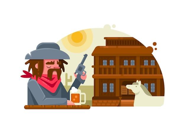 Dziki zachód. kowboj z rewolwerem pije piwo w pubie. ilustracji wektorowych