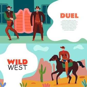 Dziki zachód kowbojski banery kolekcja dwóch poziomych kompozycji z edytowalnym tekstem i ilustracją płaskich zabytkowych scenerii