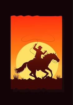 Dziki zachód pustynny zachód słońca scena z kowbojem w koniu