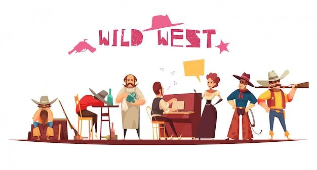 Dziki zachód salon w stylu kreskówki z postaciami