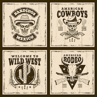 Dziki zachód ustawić emblematy na tle z teksturami