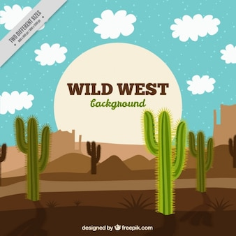 Dziki zachód w tle z kaktusa i białe chmury