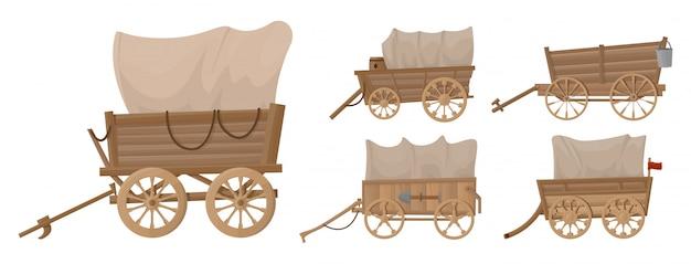 Dziki zachód wagon wektor kreskówka zestaw ikon. zestaw ilustracji wektorowych western starego przewozu na białym tle