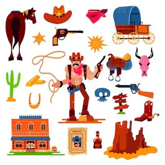Dziki zachód western kowboj postać w dzikiej przyrody pustyni z kaktusową ilustracją szalenie szeryf w kapeluszu z pistoletem na rodeo secie