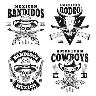 Dziki zachód zestaw monochromatycznych emblematów lub odznak na białym tle