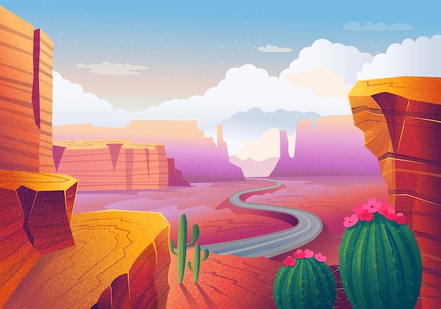 Dziki zachodni teksas. krajobraz z czerwonymi górami, kaktusem, drogą i chmurami. ilustracja.