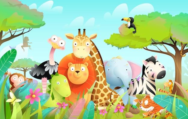 Dzikie egzotyczne zwierzęta dla dzieci w afrykańskiej dżungli lub sawannie z tłem drzew i liści.