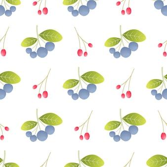 Dzikie jagody bezszwowe tło wzór