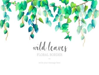 Dzikie liście kwiatowy granicy