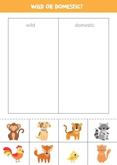 Dzikie lub domowe zwierzęta gra w sortowanie dla dzieci w wieku przedszkolnym edukacyjny arkusz logiczny