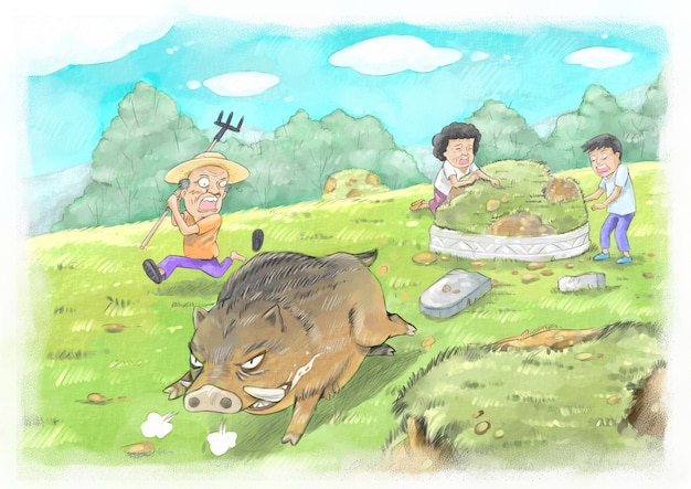 Dzikie świnie kopiące groby