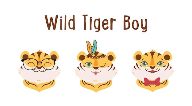 Dzikie tygrysy chłopcy z kokardowymi okularami pióra zabawne głowy zwierzęta dobre na logo dnia tygrysa