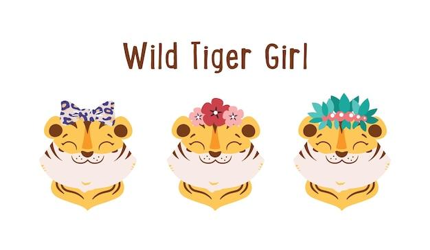 Dzikie tygrysy dziewczyny z kwiatami w kokardkach pozostawiają słodkie twarze zwierząt są dobre na logo dnia tygrysa