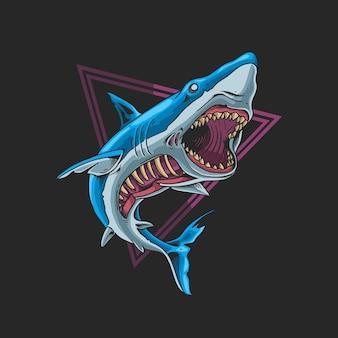 Dzikie Zombie Rekin Bestia Ilustracja Premium Wektorów