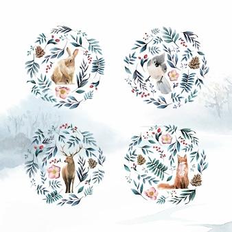 Dzikie zwierzęta z kwiatami i liśćmi malowane akwarelą