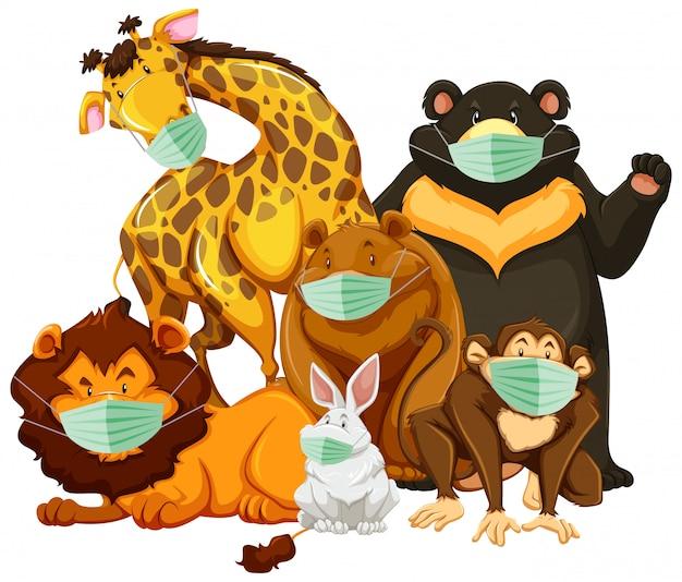 Dzikie zwierzę caroon znaków noszenie maski
