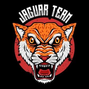 Dzikie zwierzę drapieżnik głowa jaguara logo ilustrator esport