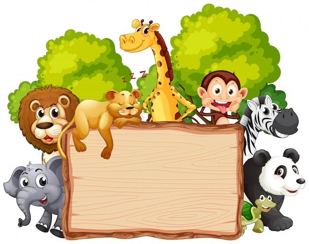Dzikie Zwierzę Na Drewniane Transparent Premium Wektorów
