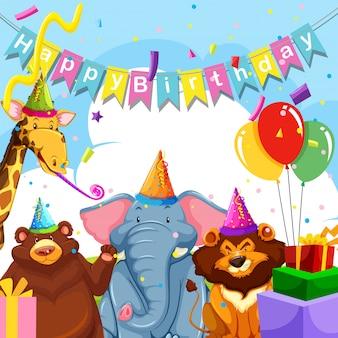 Dzikie zwierzę na szablonie urodzinowym
