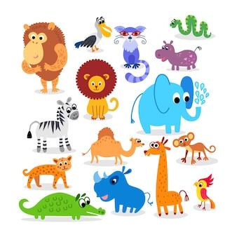 Dzikie zwierzęta afrykańskie ustawione w stylu płaskim