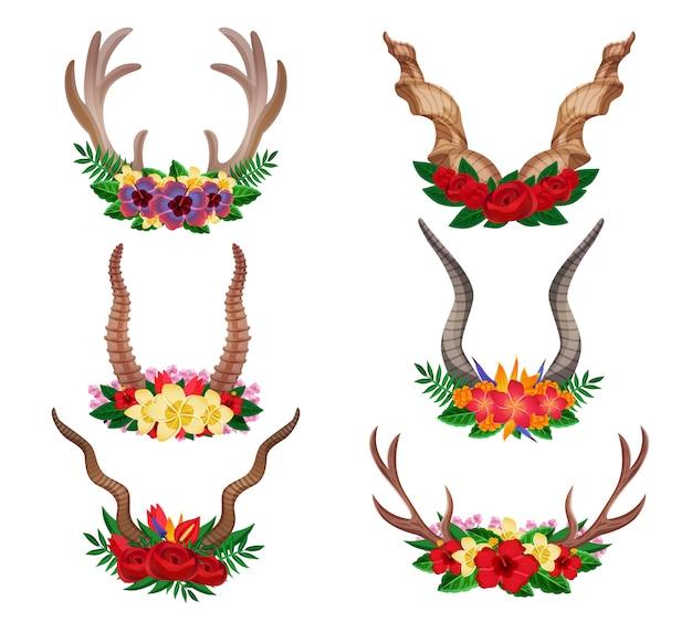 Dzikie zwierzęta kochany kozioł górski ozdobne kwiatowe rogi ustawione ozdobione kompozycjami kwiatowymi na białym tle
