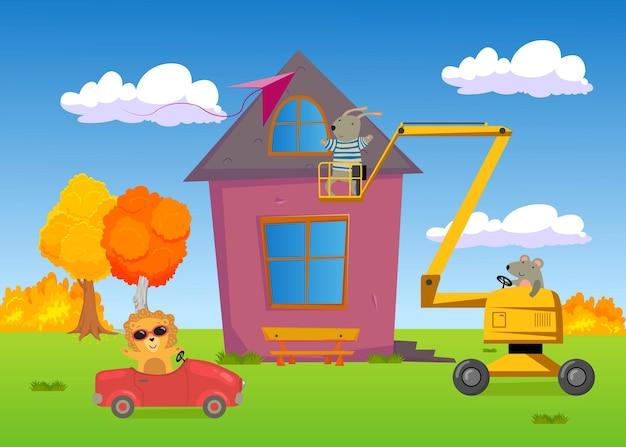 Dzikie zwierzęta kończą budowę domu. lew w samochodzie, mysz podnosząca królika na podnośniku, przyjaciele budujący razem dom, płaska ilustracja latający latawiec. budowa, budowa koncepcji domu