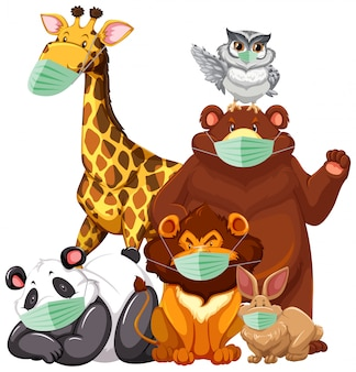 Dzikie zwierzęta kreskówka charater noszenie maski