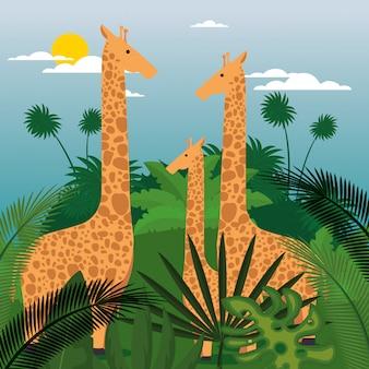 Dzikie zwierzęta na scenie dżungli