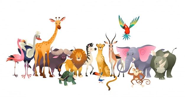 Dzikie zwierzęta. safari przyrody afryka szczęśliwy zwierzęcy lew zebry słonia nosorożec papugi żyrafy strusi flaming śliczna dżungla