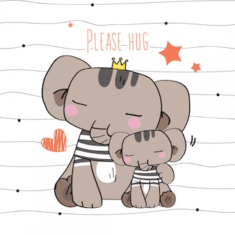 Dzikie zwierzęta słodkie ręcznie rysowane dzikie zwierzęta nosić kostium proste paski gest wesoła buźka uśmiech zakochany matka dziecko przytulenia w wzór i ilustracja