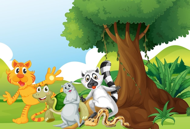 Dzikie zwierzęta stojące pod drzewem
