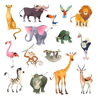 Dzikie zwierzęta w dżungli. sawanna leśny zwierzęcy ptak safari natura afryka tropikalny egzotyczny las ssaki morskie, zestaw kreskówek
