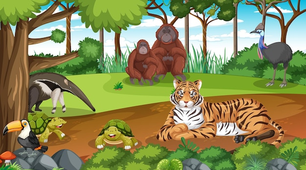 Dzikie zwierzęta w leśnej scenie z wieloma drzewami