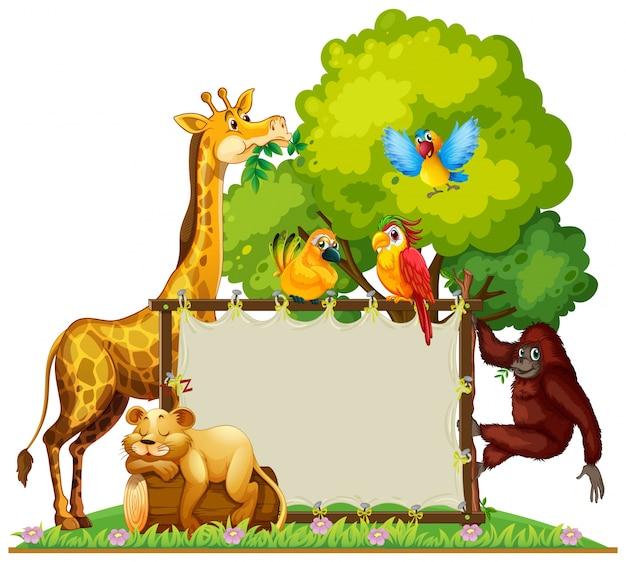 Dzikie zwierzęta wokół drewnianej ramy
