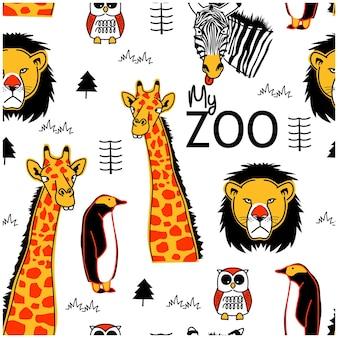 Dzikie zwierzęta wzór bez szwu zabawna kreskówka zwierzęca