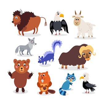 Dzikie zwierzęta z ameryki północnej ustawione w stylu płaskim