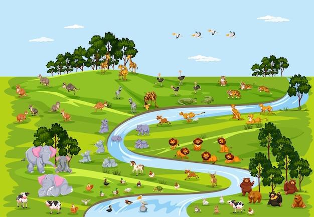 Dzikie życie lub dzikie zwierzę na scenie przyrody