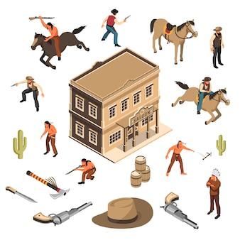 Dzikiego zachodu kowboje i rdzenni amerykanie z budynku szeryfa broni saloon izometryczny zestaw na białym tle
