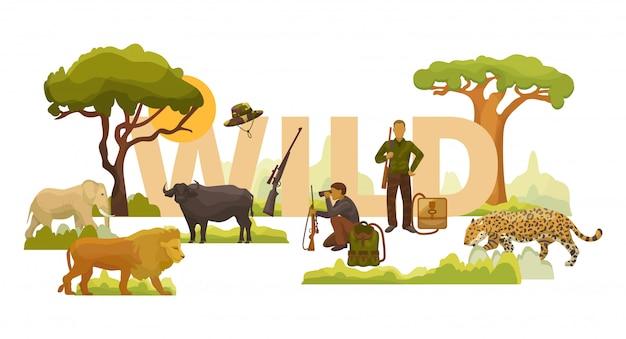 Dzikiej przyrody afrykańscy zwierzęta, rośliny, drzewa i mężczyźni myśliwi z ilustracją karabiny, plecaki i lornetki. słoń, lew, lampart i bawół.