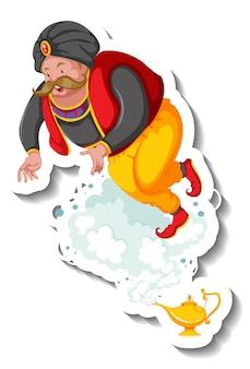 Dżin wychodzący z naklejki magicznej lampy z postacią z kreskówek