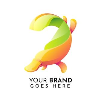 Dziobak zwierząt płaskie logo szablon