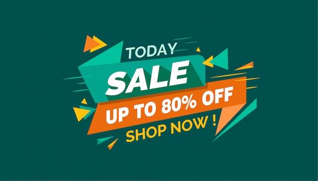 Dzisiaj sprzedaż, kolorowy transparent sprzedaży
