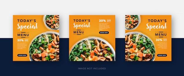 Dzisiejsze menu szablon mediów społecznościowych żywności