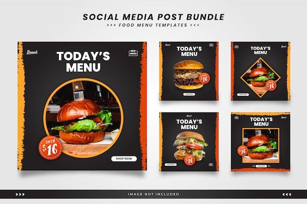 Dzisiejsze menu żywności szablony postów w mediach społecznościowych