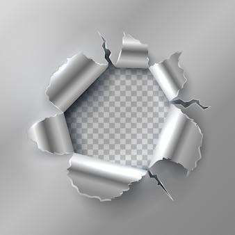 Dziura po kuli w metalu. otwieranie za pomocą zgranych stalowych krawędzi. ilustracja wektorowa na przezroczystym tle